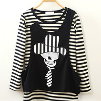 Stripe Skull Print Black Long Sleeve Shirt
