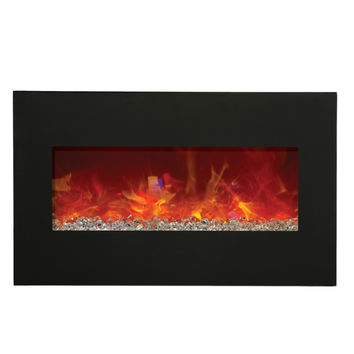 Amantii Advanced Built-in/Wall Mounted Electric Fireplace (WM-BI-28-3421-BLKGLS)