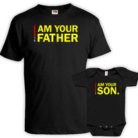 Father Son Matching Shirts Gifts For New Dad Daddy And Me Outfits Matching Outfits I Am Your Father I Am Your Son Baby Bodysuit DN-669-586