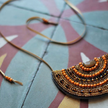 Bead embroidery half moon statement necklace in gold and orange, Colorful necklace, Tribal collar