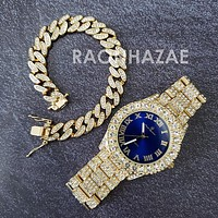 Raonhazae Hi Hop Iced Lab Diamond Meek Mill Drake Blue Face 14K Gold Plated Watch with 12mm Cuban Link Bracelet Set