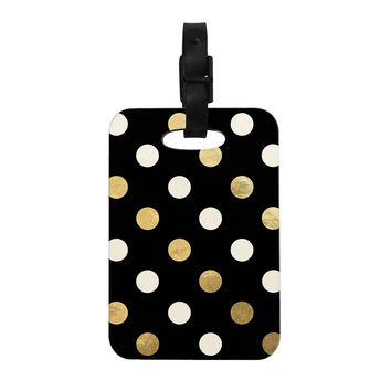 "KESS Original ""Golden Dots"" Black Gold Decorative Luggage Tag"