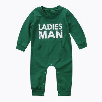 Autumn Winter Baby Kid Boy Newborn Infant Thick Warm Romper Letter Printed Jumpsuit Clothes Outfit