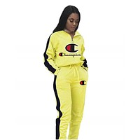 Champion Autumn And Winter New Fashion Embroidery Letter Hooded Long Sleeve Top And Pants Two Piece Suit Women Yellow