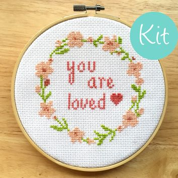 Cross Stitch Kit Quote - You Are Loved