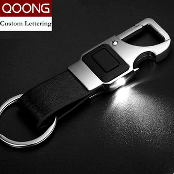 QOONG Custom Lettering Men Leather Key Chain Metal Car Key Ring Multifunctional Tool Key Holder LED,Bottle Opener Keychain 2-001