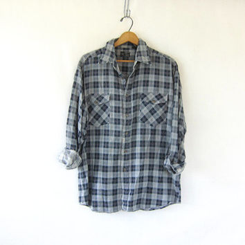 thin blue plaid flannel BLUE and GRAY checkered plaid shirt BOYFRIEND cotton top button up Pocket shirt Collar Grunge Hipster Urban slouchy