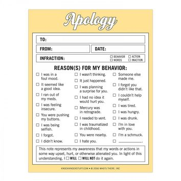 Apology Nifty Notepad