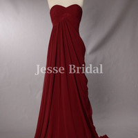 Burgundy Draping  Chiffon bridesmaid dress, Party dress,Prom Dress,Prom Gown With Sweetheart Neckline