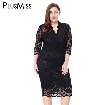 Plus Size 6XL Sexy V Neck Floral Lace Crochet Sheer Women Midi Dress Elegant Evening Party Dresses Robe Femme Vintage 2017