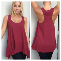Burgundy Tunic T-Back Top