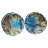 "1 5/8"" (41mm) Flat High Flash Labradorite Stone Plugs #6530424"