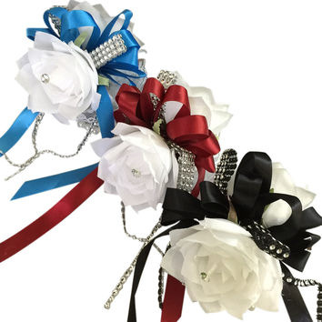 Wrist Corsage-Two White Roses with Ribbon and Bling: Choose Ribbon Color Below
