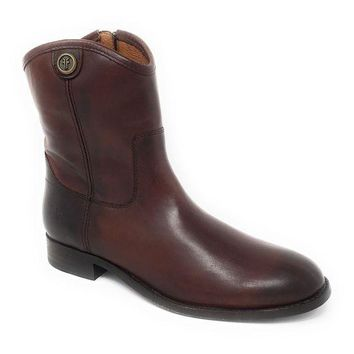 ICIKAB3 Frye Melissa Button Short Redwood Leather Boots