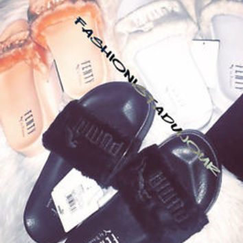 PUMA X RIHANNA LEADCAT FENTY FUR SLIDES  BLACK WHITE SHELL PINK