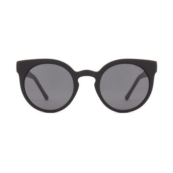 Komono - Lulu Metal Series Black Sunglasses / Polycarbonate Solid Smoke Lenses