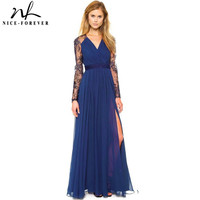 Nice-forever  Blue Summer Elegant V Neck Long Lace Sleeve Fitted dress  Fashion Slimming Chiffon Split Maxi Dress A001