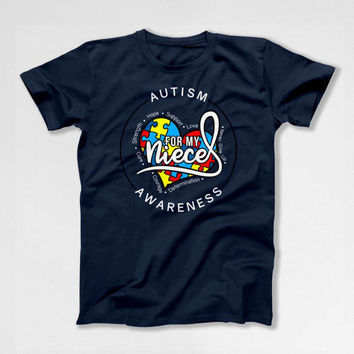 Autism T Shirt Uncle Gifts Autistic Support TShirt Aunt Shirt Autism Awareness Month Ribbon Puzzle Piece For My Niece Mens Ladies Tee DN-619