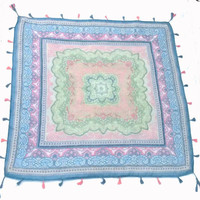 Blue and Pink Bohemian Festival Blanket / Tapestry / Throw Blanket