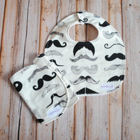 Baby Bib and Burp Cloth Combo- Gender Neutral- Mustache- Movember- Baby Gift- Baby Boy Bib- Baby Girl Bib