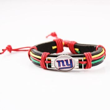 Reggae Fashion Leather Bracelet Man Woman New York Giants Charms Bracelet Genuine Leather Cuff Bracelet 6pcs/lot