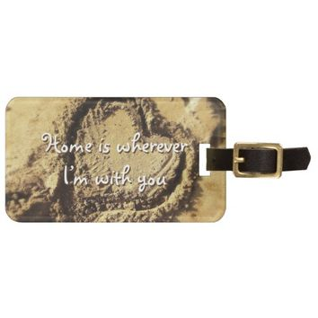 """Home"" quote heart drawn in sand photo luggage tag"