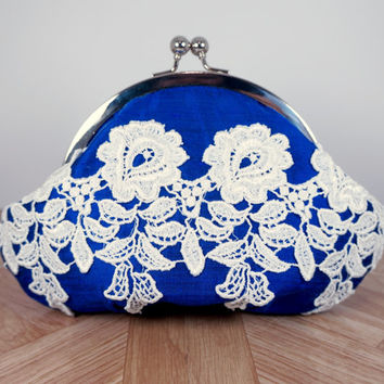 Cobalt clutch purse, lace clutch, framed royal blue wristlet, ivory lace, silk clutch, personalized clutch, wrist strap