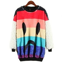 ERLKING Women's Horrible Clown Fleece Tee Top Furry Sweatshirts Color Black Size Free Size