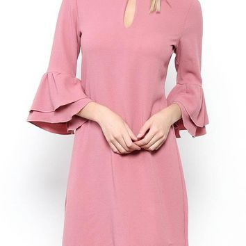 Pink Cinched Bell Sleeve Dress