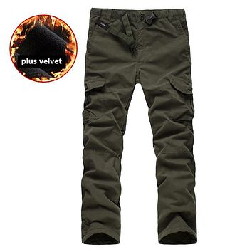 Plus size M-3XL Men's Cargo Pants Winter thicken Fleece Cargo Pants Men Casual Multi Pockets Military Tactical Trousers