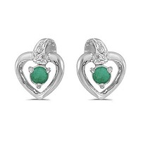 10K White Gold Round Emerald and Diamond Heart Shaped Earrings