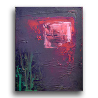 Original Abstract Acrylic Painting on Canvas, Chromotherapy ( gray, pink, purple, white, turquoise)