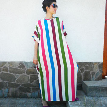 Multicolor Stripes Long Dress / Oversized Maxi Abaya / Summer Party Dress / Everyday Loose Dress / Evening Dress by moShic D001