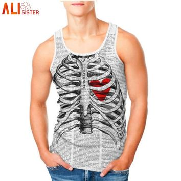 3d Skeleton Heart Print Summer Skull Tank Top Bodybuilding Shirt Male Sleeveless