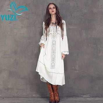 Women Dress 2017 Yuzi Spring New Casual Cotton Linen Dresses O-Neck High Waist Lantern Sleeve Vestido A8107 Vestidos Femininos