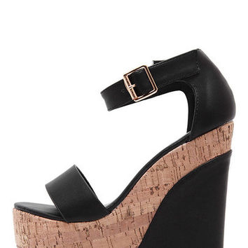 Black Peep Toe Ankle Stap Wedge Sandals