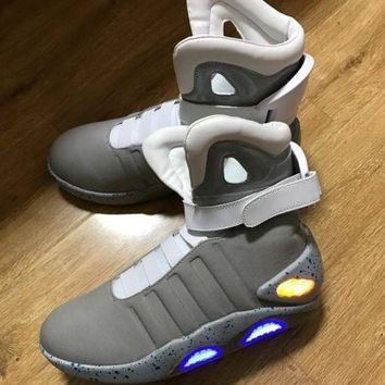 Air Mag Back To The Future Glow In The Dark Gray Sneakers Marty McFly's LED Shoes Black Mag Marty McFlys Sneakers With Box Top quality