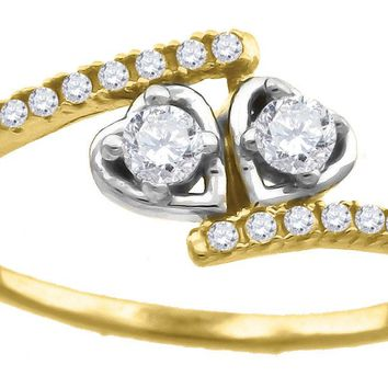 CZ Two Hearts Love Design Promise Ring in 10k Yellow & White Gold