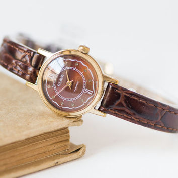 Burgundy woman's watch, small gold plated lady's watch Glory, ornamented watch her, premium leather strap new