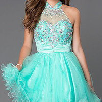 Short High Neck Dress with Jewel Embellished Bodice GS2130