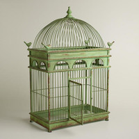 Green Antique Iron Birdcage - World Market