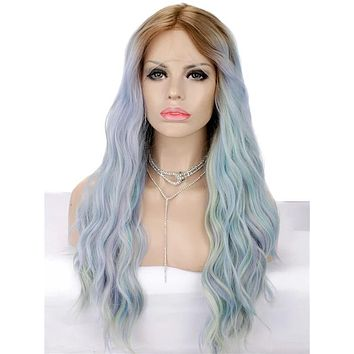 Long Dreamy Sunset Magic Blue Ombre Wave Synthetic Lace Front Wig