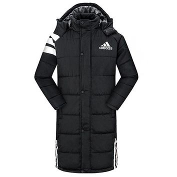 Adidas Winter Classic Fashion Women Men Casual Warm Hooded Cardigan Jacket Coat Windbreaker