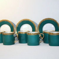 Ancienne Fabrique Royale Limoges Demitasse Cup and Saucer Set of Six, Coffee Espresso Service, Made in France