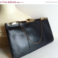 Hello Spring Sale Black Leather Clutch Purse Vintage with Gold Chain by Ideal