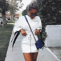 Women Casual Letter Embroidery Webbing Bandage Long Sleeve Sweater Short Crop Tops