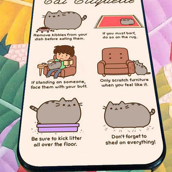 Pusheen cat, cat etiquette for iPhone 4/4s, iPhone 5/5S/5C/6, Samsung S3/S4/S5 Unique Case *76*