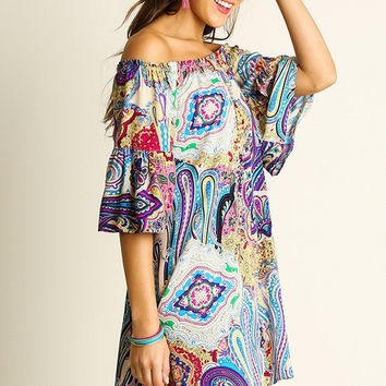 Paisley Perfection Off Shoulder Dress - Blue and Fuchsia