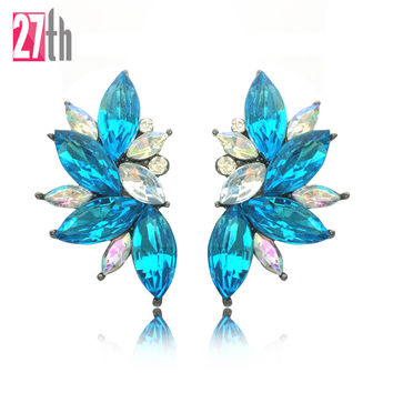 Opal Stone Stud Earrings Christmas Party 2016 Elegant Crystal Earrings For Women Trendy Hematite Plated Women Earrings 19 colors