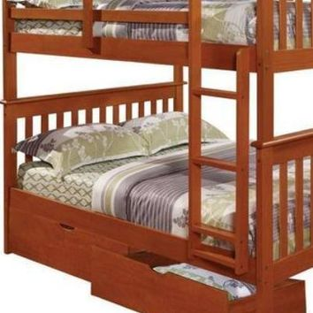 Zachary Full Espresso Bunk Beds for Kids with Storage